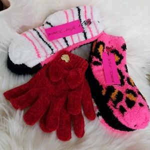 Betsey Johnson socks and glove